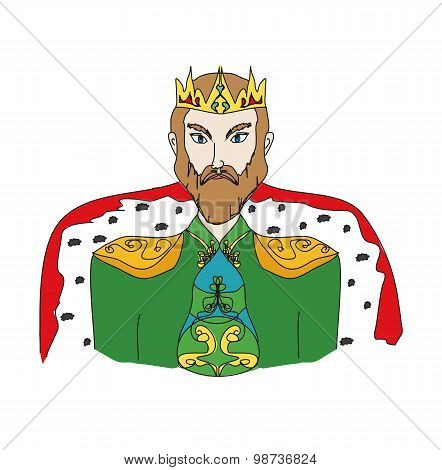 King On A White Background, Hand Drawn Illustration