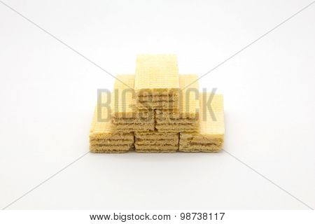 Wafer stack on white background