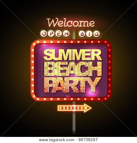 Neon Sign Summer Beach Party