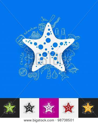 starfish paper sticker with hand drawn elements