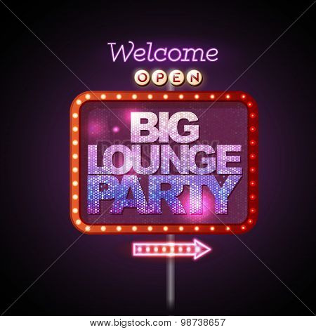 Neon Sign Big Lounge Party