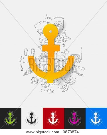 anchor paper sticker with hand drawn elements