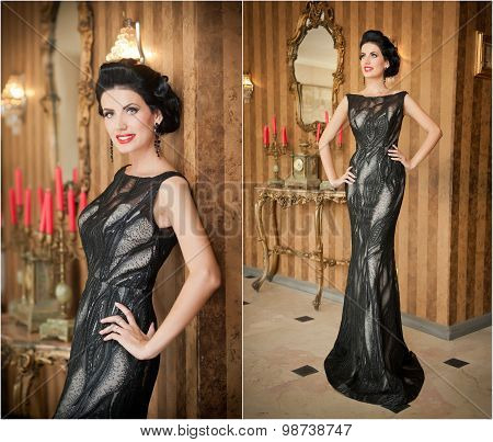 Beautiful girl in elegant black dress posing in vintage scene. Young beautiful woman