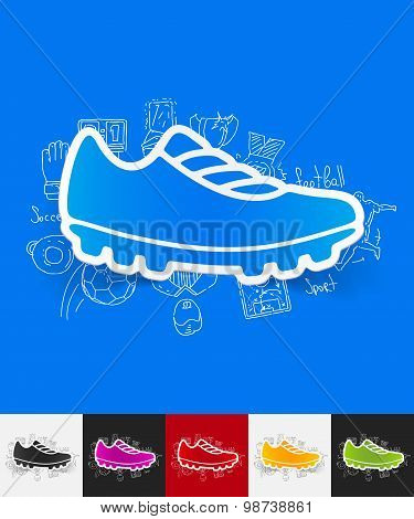 sneakers paper sticker with hand drawn elements