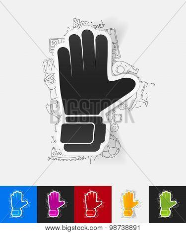 gloves paper sticker with hand drawn elements