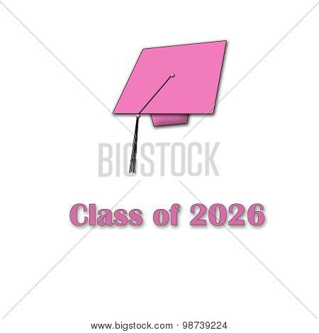 Class of 2026 Pink on White Single Large