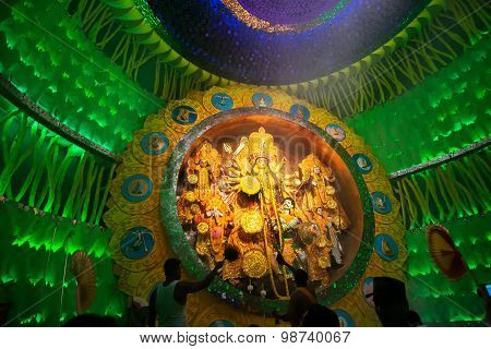 Priest Praying To Goddess Durga, Durga Puja Festival Celebration.