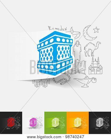 lantern paper sticker with hand drawn elements