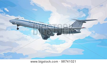 Modern airplane on sky background.