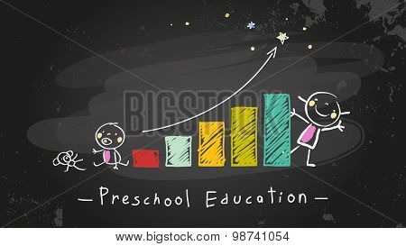 Preschool kids education growing chart, graph. Chalk on blackboard doodle style education, learning concept vector illustration.