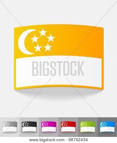 realistic design element. singapore flag