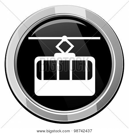 Cable Way Funicular. Vector Icon Isolated