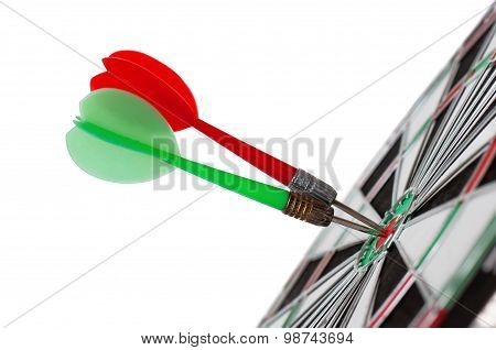 Two Darts In Center Of Target