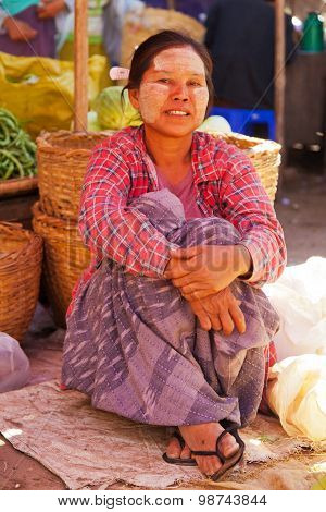 Woman Selling In Bagan Market, Myanmar