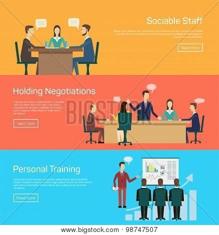 Vector illustration of flat negotiations and personal traning