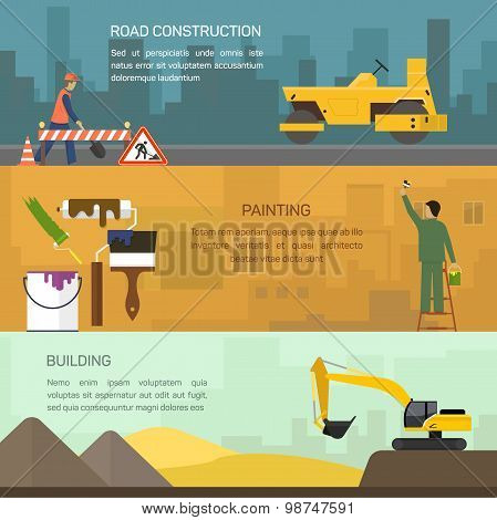 Vector illustration of road construction, painting, building
