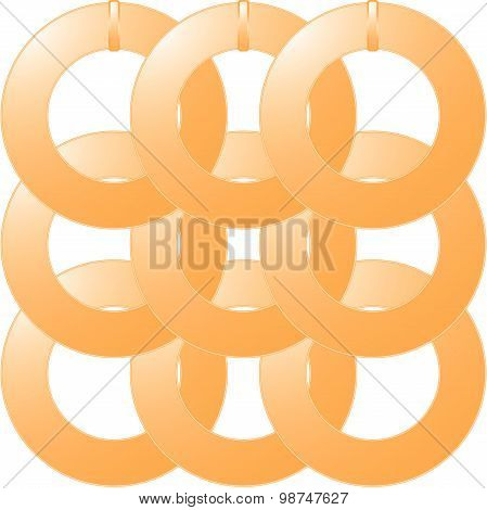 Gold metal rings on a white background
