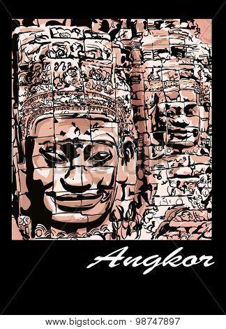 Angkor - the Bayon - Vector illustration