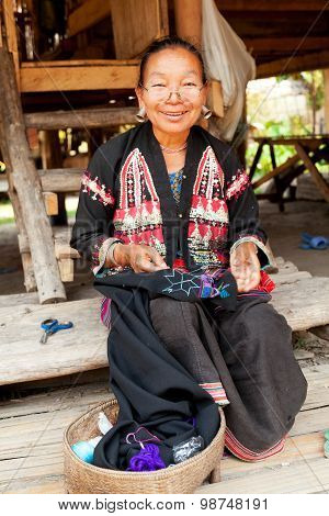 Old Thai Woman With Large Earings