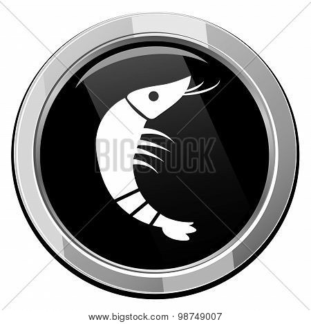 Shrimp. Tound Black Icon.