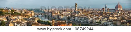 Florence during sunrise from Piazzale Michelangelo Italy