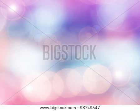 Abstract photo of backlight reflector and glitter bokeh lights background.