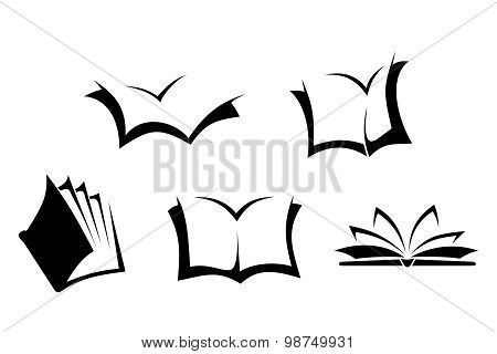 Black silhouettes of books. Vector illustration.