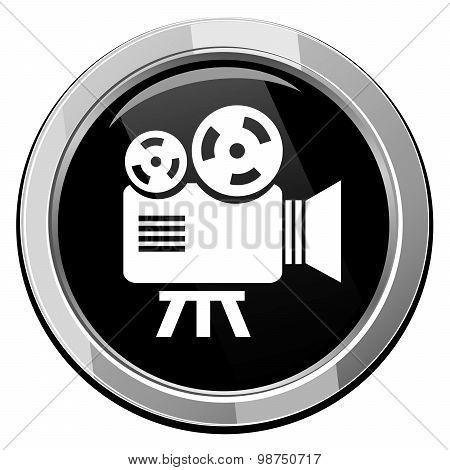 Videocamera. Black Round Icon.