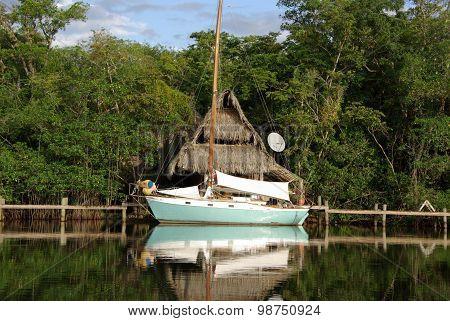 Hut and boat in Guatemala