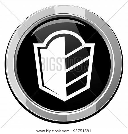 Protect, Security Sign, Vector Black Round Icon