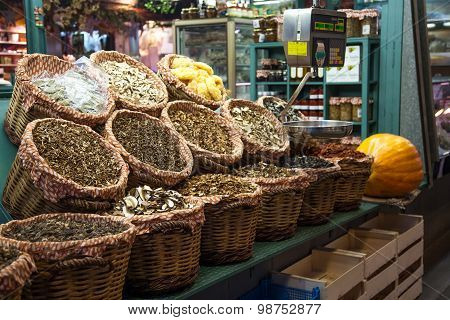 Dried mushrooms in La Boqueria market Barcelona