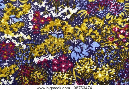Autumn Floral Pattern On Fabric.