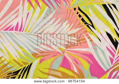 Colorful Tropical Leaves Pattern On Fabric.