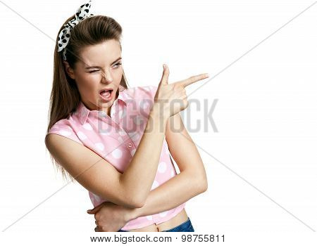 Beautiful Girl Is Gesturing Shoot Sign With Finger. Human Emotions Face Expressions