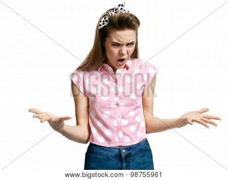 Angry Open-mouthed Girl Spread Her Hands