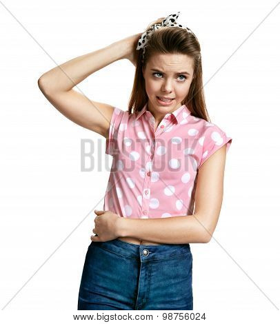 Stranded Girl / Photo Of Young Cheerful Brunette Woman Over White Background
