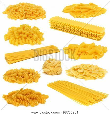 Assortment of dry pasta isolated on white