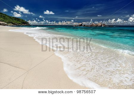 Soft Wave Of The Sea On The Sandy Beach At Summer Sunny Day