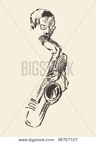 Jazz poster saxophone music acoustic consept