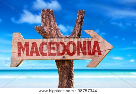 Macedonia wooden sign with lake background