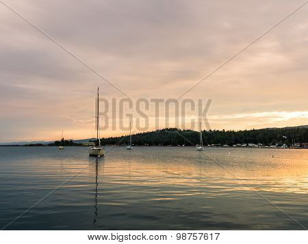 Sailboats On Grand Marais Harbor At Sunset 5