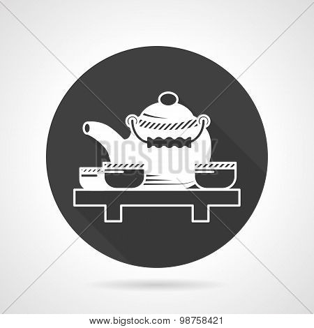 Tea ceremony black round vector icon