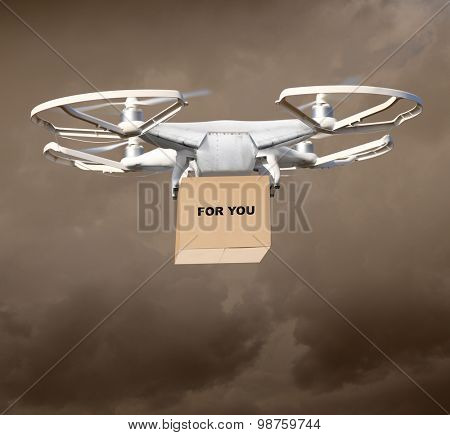 Drone is new tool for delivery.  Digital artwork fictional vehicle on shopping theme. Picture with space for your text.