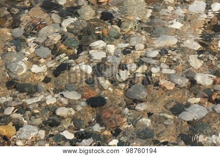 Water Washing Over Pebbles On A Lake Huron Beach