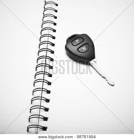 Car Key On Notebook Black And White Color Tone Style