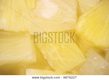 Close View Of Pineapple Chunks