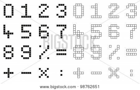 Collection 2 Isolated Pixel Numbers And Mathematical Signs