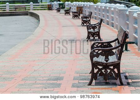 Footpath Lined With Benches