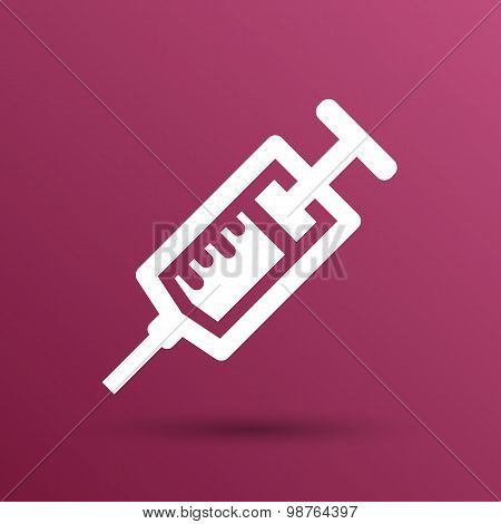 Syringe icon vector isolated disposable white medical
