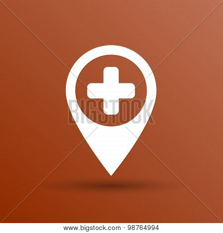 Map Pointer Icon With Cross, Hospital, First Aid Sign